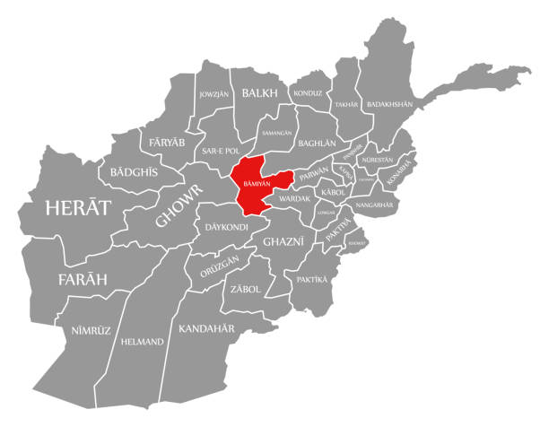 Bamiyan red highlighted in map of Afghanistan